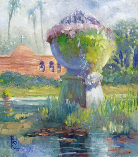Squire 4 Mission-Fountain-10-x-8-Oil-by-Artist-Beverly-Squire