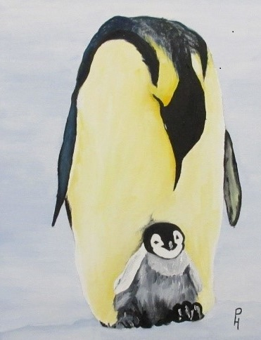 oil painting of penguins