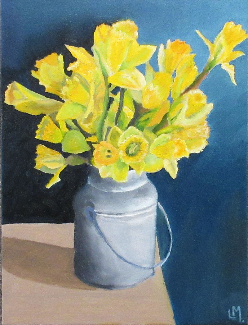 Oil painting of daffodils