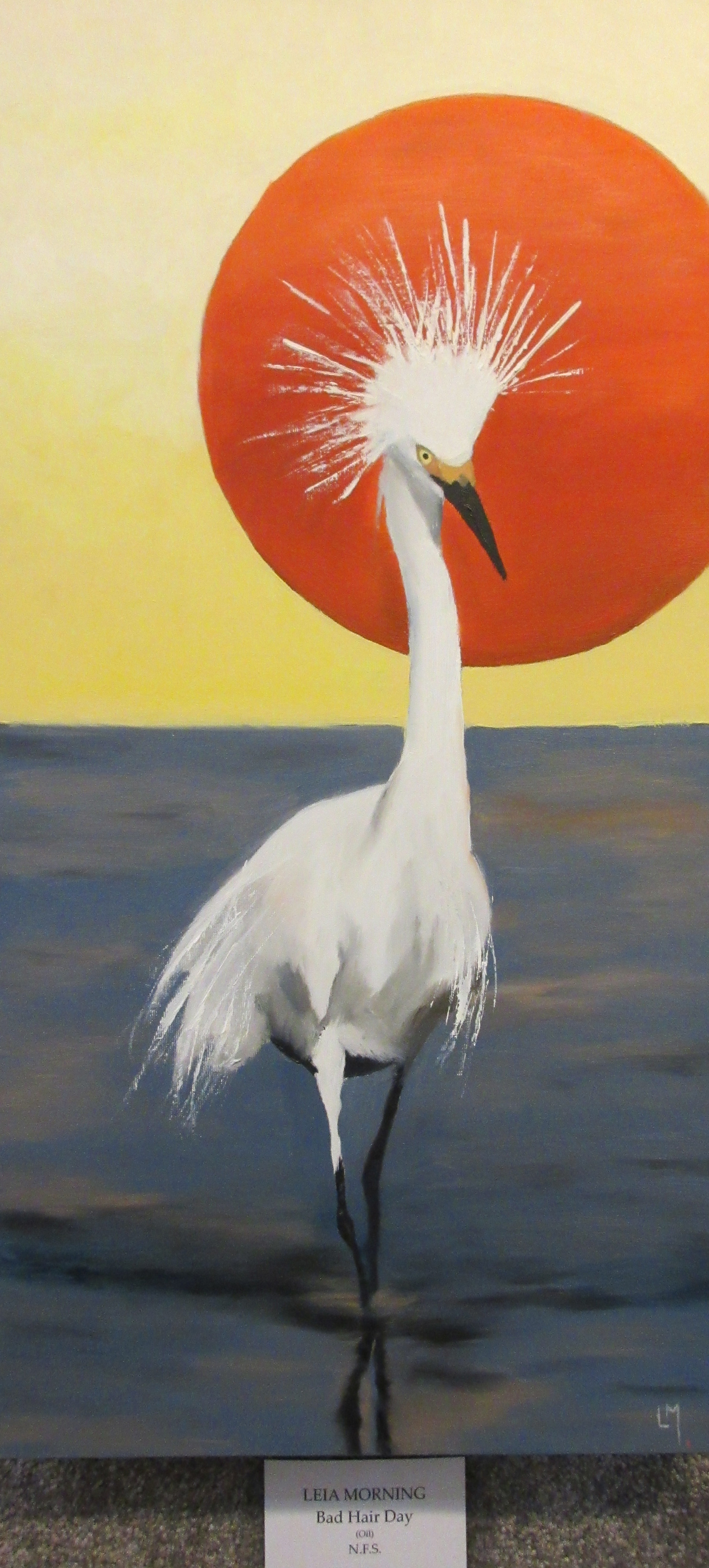 "oil painting of a bird with spiky hair called ""Bad Hair Day"""