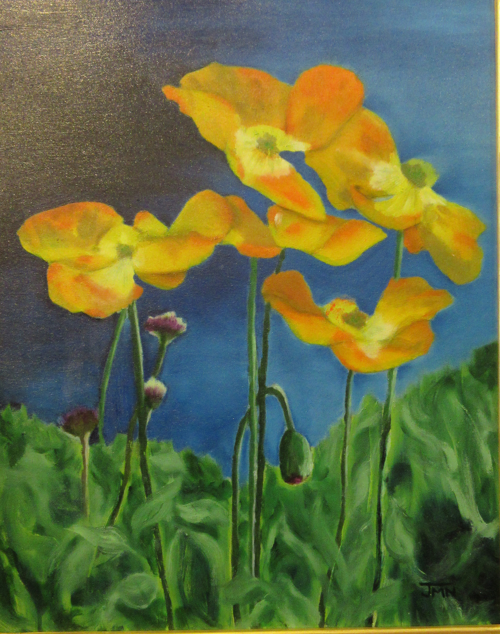 oil painting of poppies by Jackie Nowak